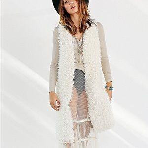 Urban Outfitters Ecote Faux Fur Maxi Vest Duster